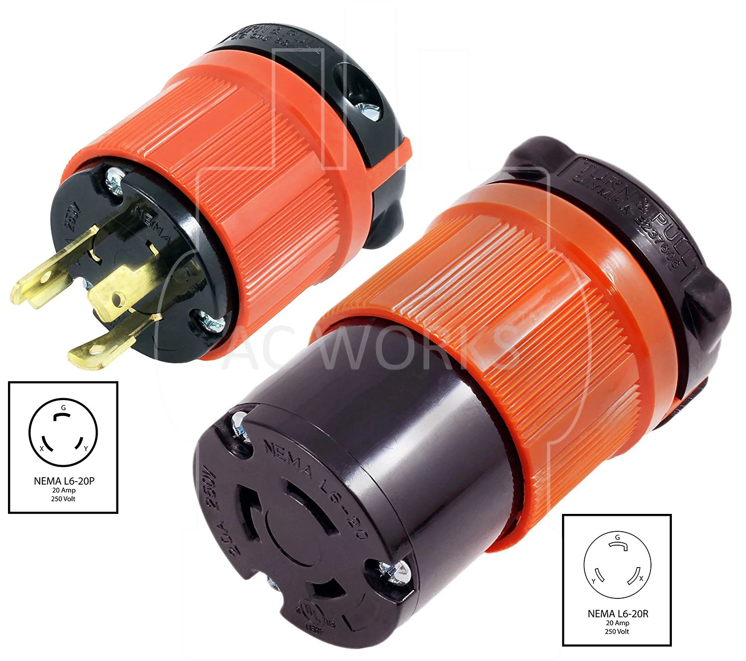 hight resolution of  ac works ac connectors nema l6 20p l620p l620 3