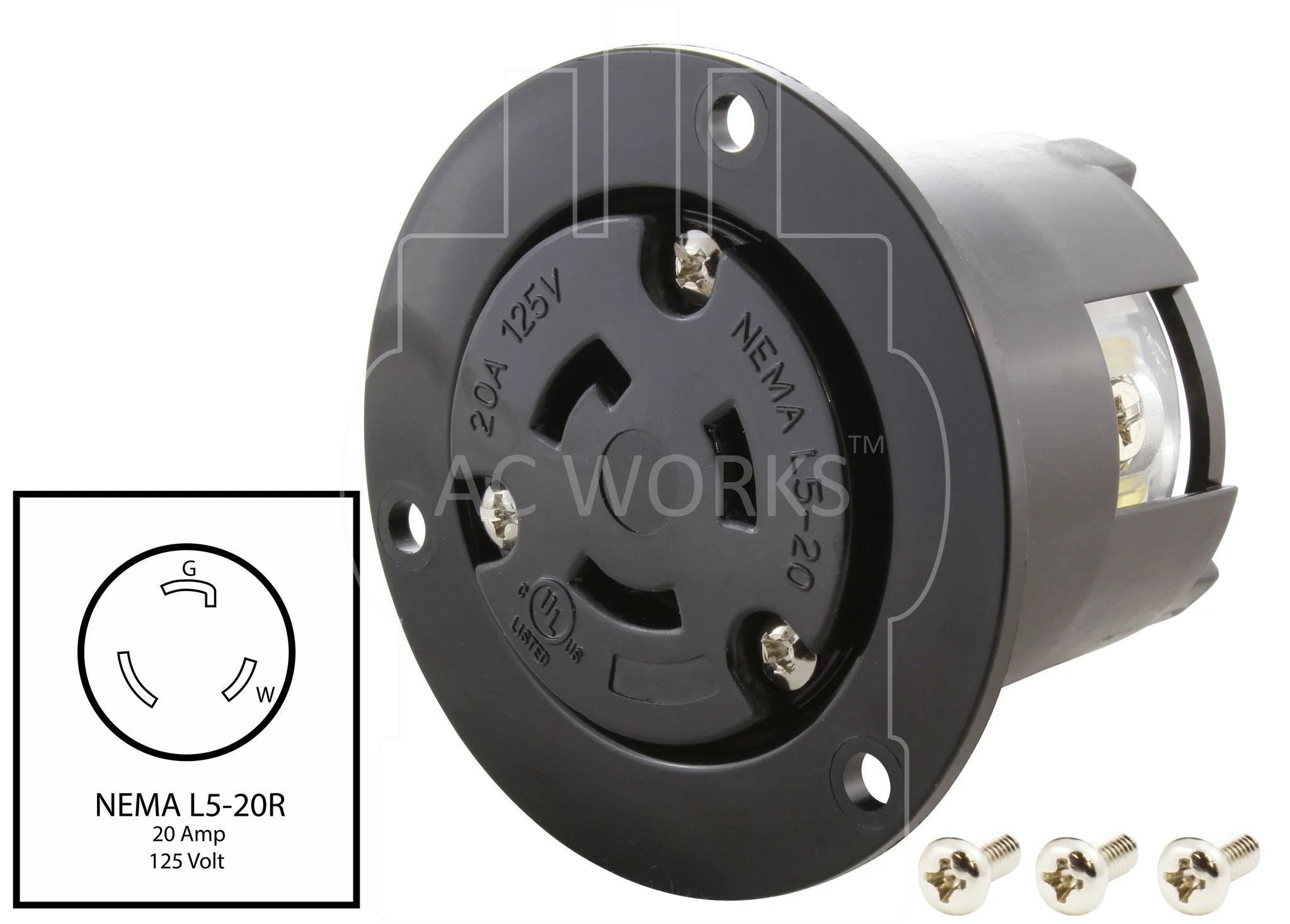 medium resolution of  nema l5 20r outlet wiring device outlet flanged outlet ac works
