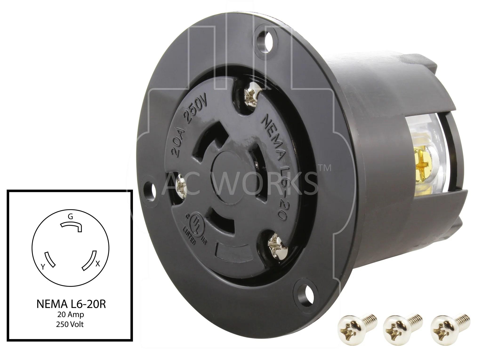 medium resolution of  nema l6 20r outlet l620 outlet diy locking outlet 20 amp locking
