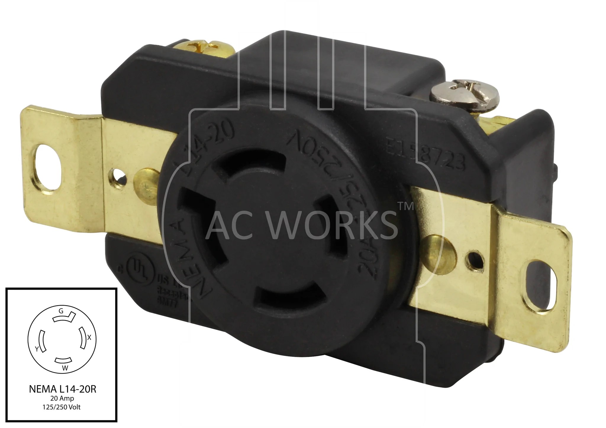 hight resolution of  ac works ac connectors flush mount receptacle nema l14 20r l1420