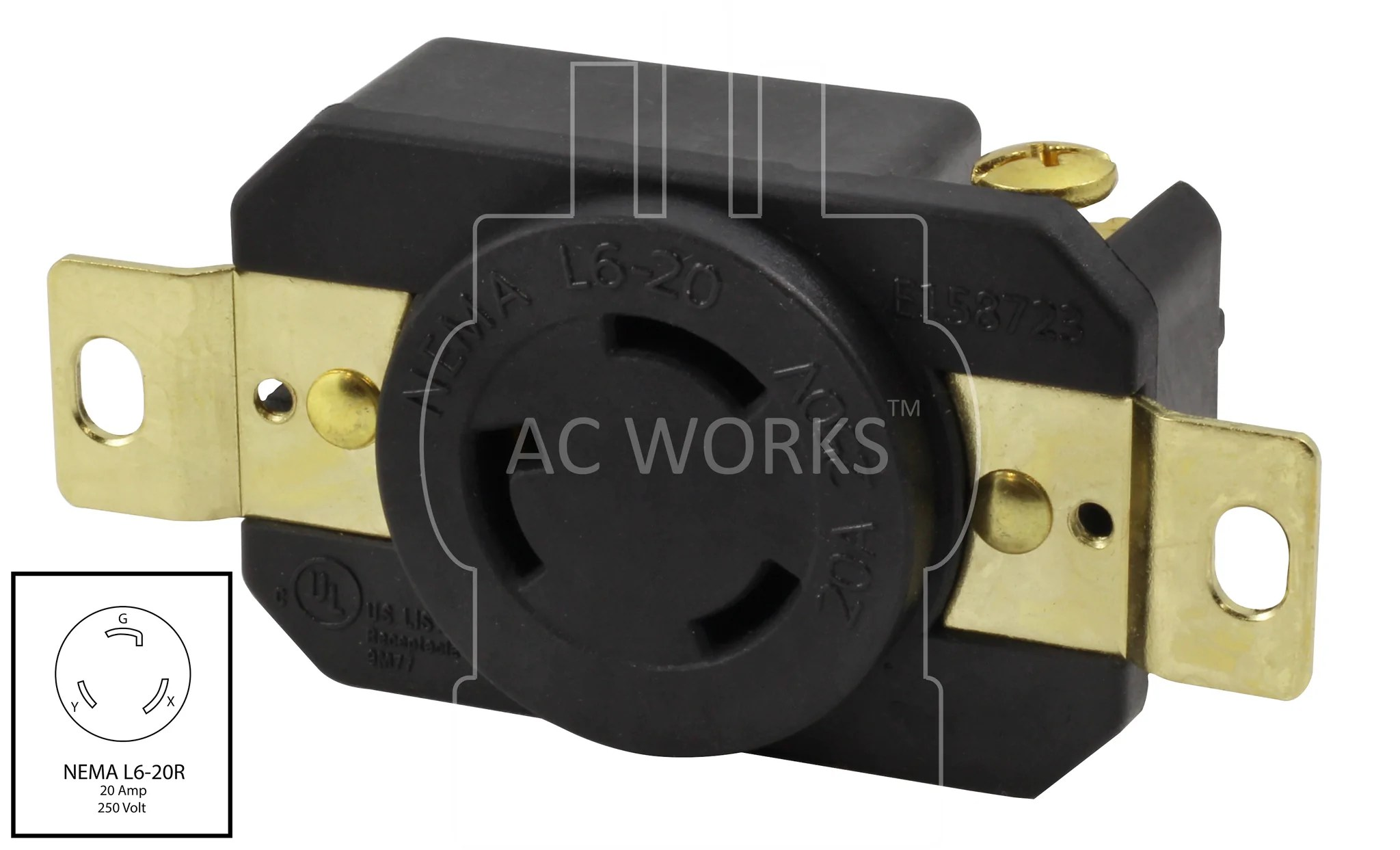 small resolution of  ac works nema l6 20r l620 receptacle l620 replacement outlet diy