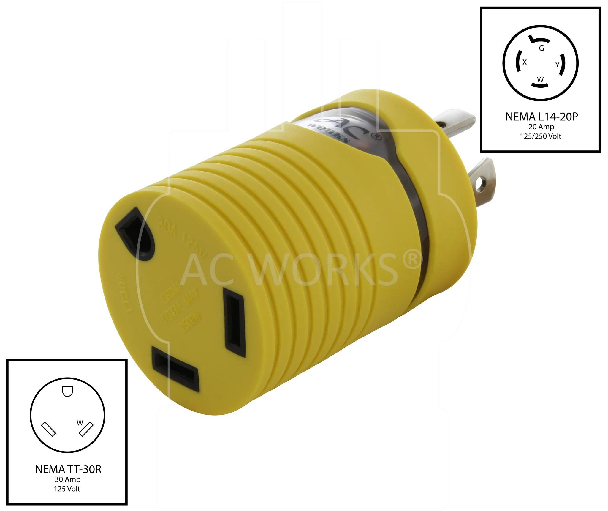 medium resolution of  nema l14 20p to nema tt 30r l1420 plug to tt30 connector