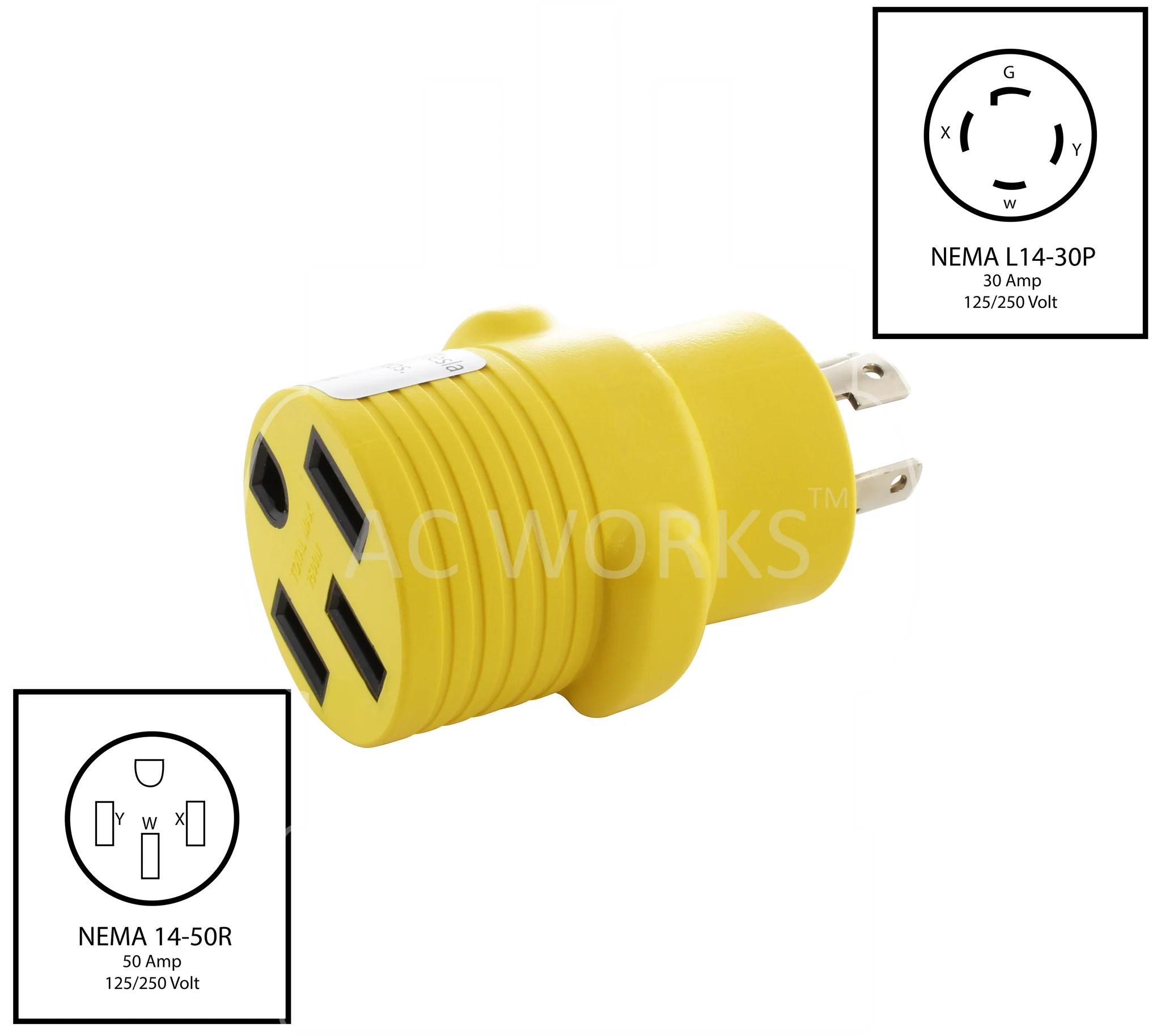 nema l14 30p to nema 14 50r l1430 plug to 1450 connector  [ 2048 x 1827 Pixel ]