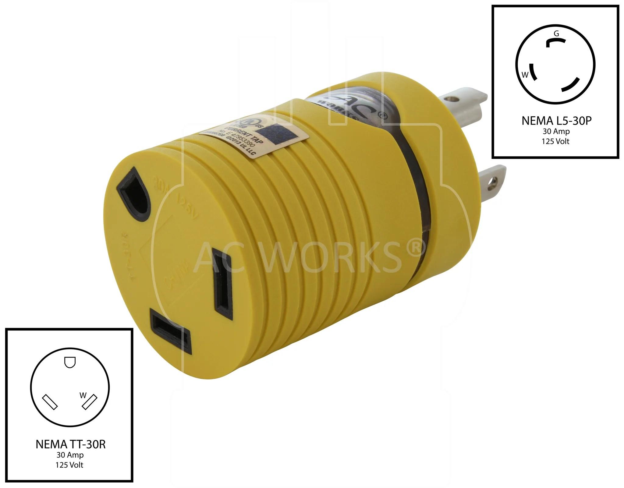 medium resolution of  nema l5 30p to nema tt 30r l530 plug to tt30 connector