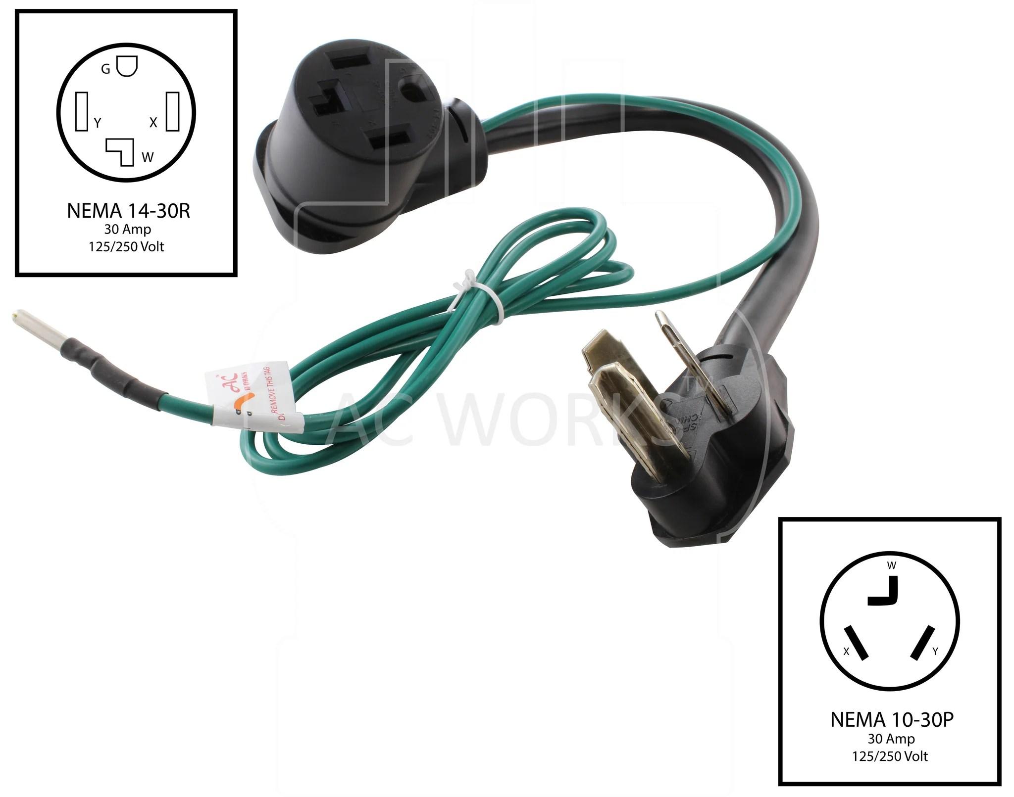 medium resolution of  nema 10 30p to nema 14 30r 1030 male plug to 1430 female