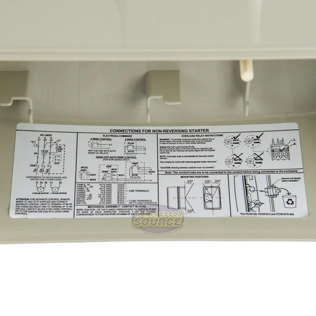 small resolution of  weg 15 hp three phase magnetic starter electric motor control nema4x 208 240 v