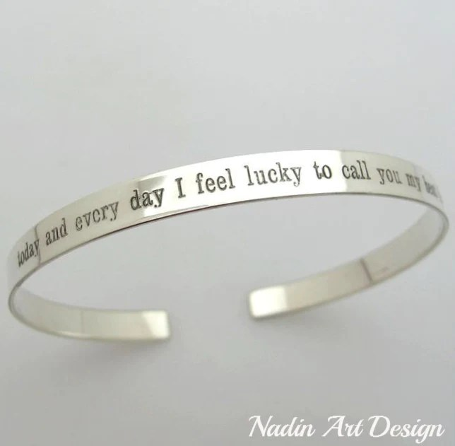 inspirational quote cuff bracelet