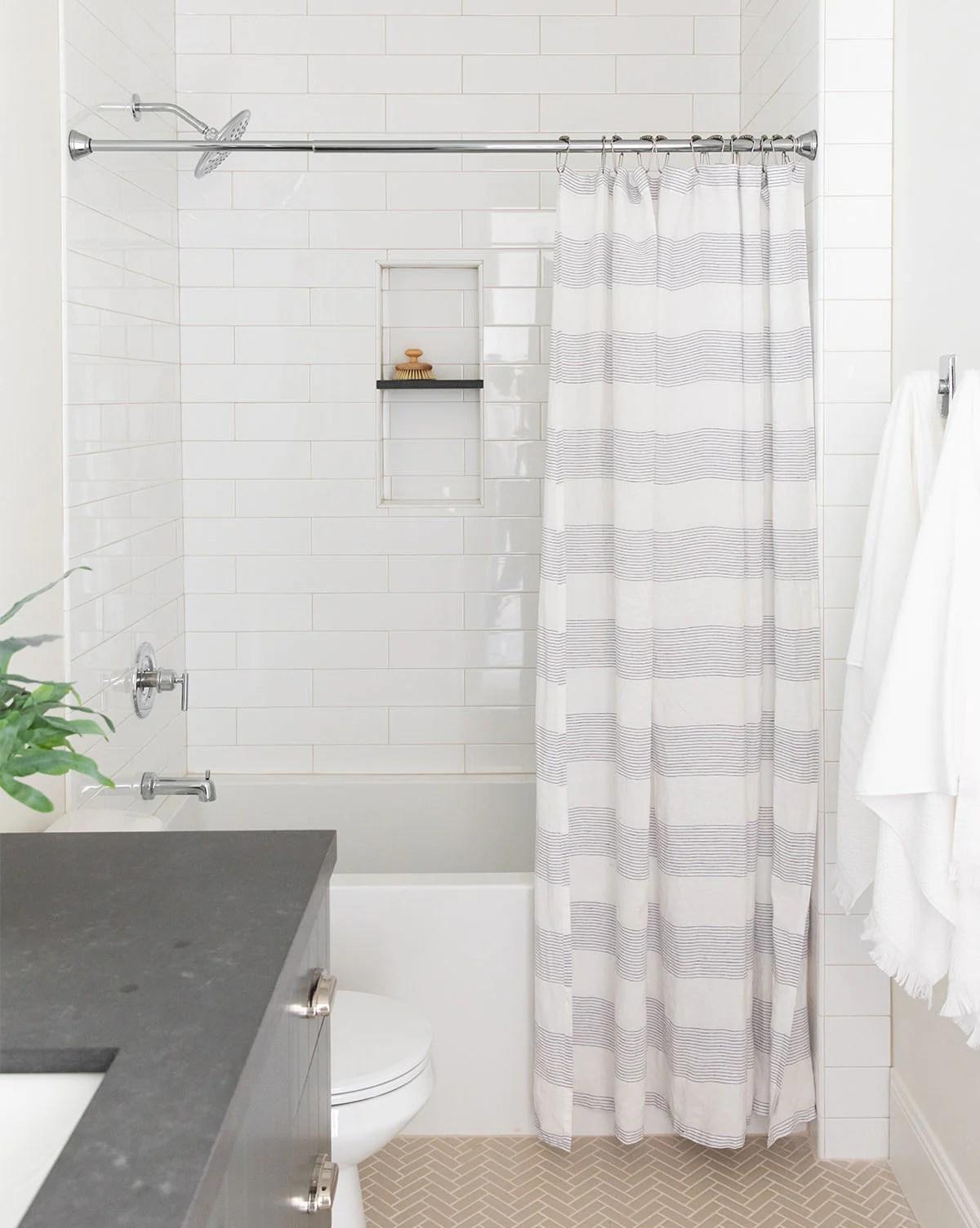 Line Break Shower Curtain Black White