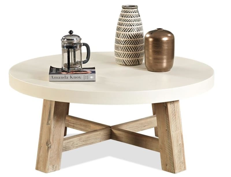 toledo round coffee table with white concrete tops and acacia base