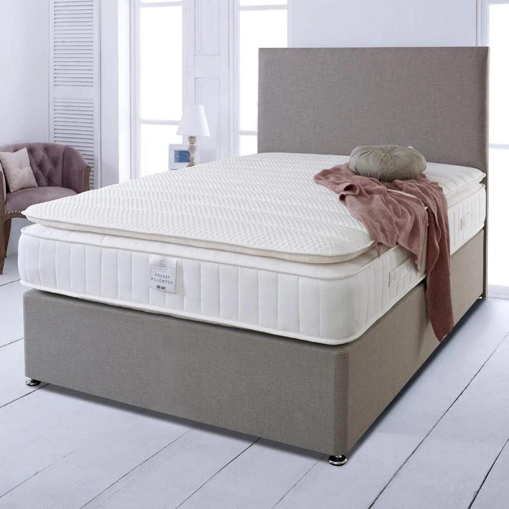 shire essentials 1000 pocket sprung memory foam pillow top divan bed set