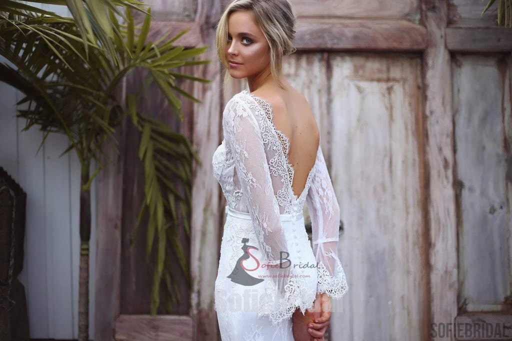 Long Sleeve See Through Lace Mermaid V-back Wedding