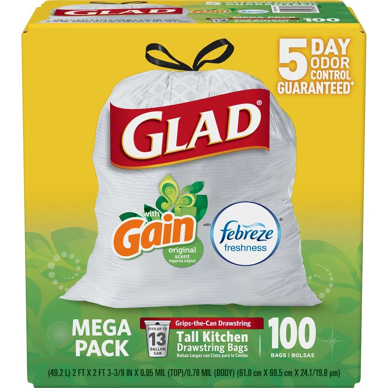 glad tall kitchen drawstring trash bags paper towel holder 100 13 gallon pzdeals