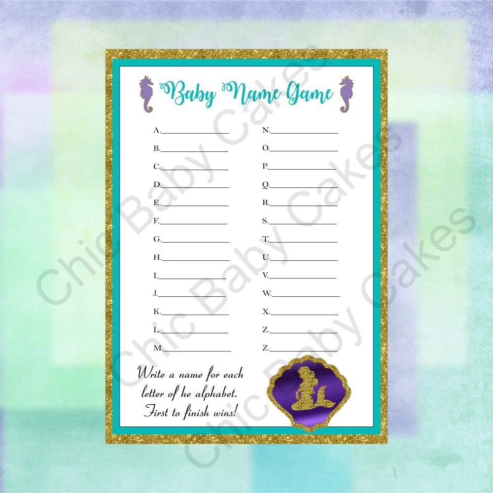 Printable Pregnant Mermaid Baby Shower Game Pack Chic