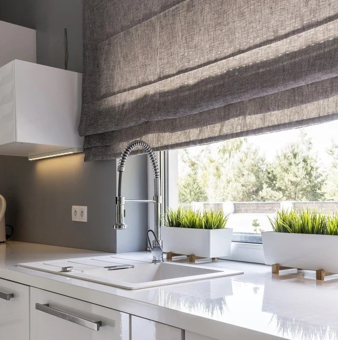 grey kitchen blinds remodeling business how to accessorise with window hut these darker shades work well in a contemporary and modern interiors are perfect for anchoring lively colour schemes vibrant accents such as
