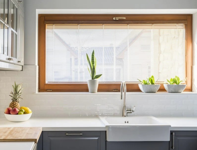 grey kitchen blinds small cabinet using window to add colour your hut are red appropriate