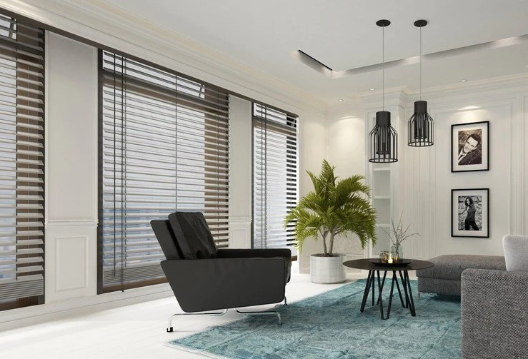 blinds for living room decorating ideas with dark wood floors 5 window influenced by new york city hut vertical are ideal large walls of glass as they can be stacked back to give unrestricted views across the however when closed