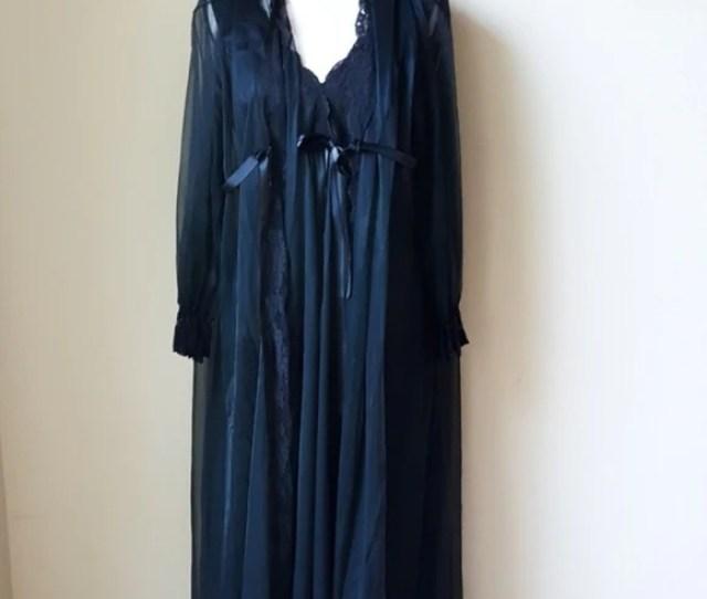 Vintage Miss Eleine Black Sheer Nightgown Robe