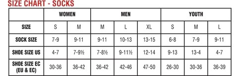 Sock size chart also mens thermal socks base layer hot chillys rh hotchillys