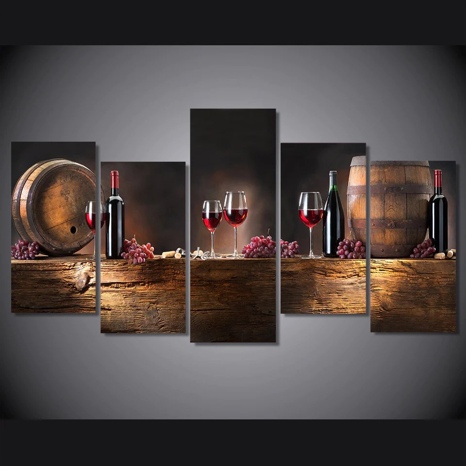5 Piece Canvas Red Wine Wall Art  Cathy Anns Deals