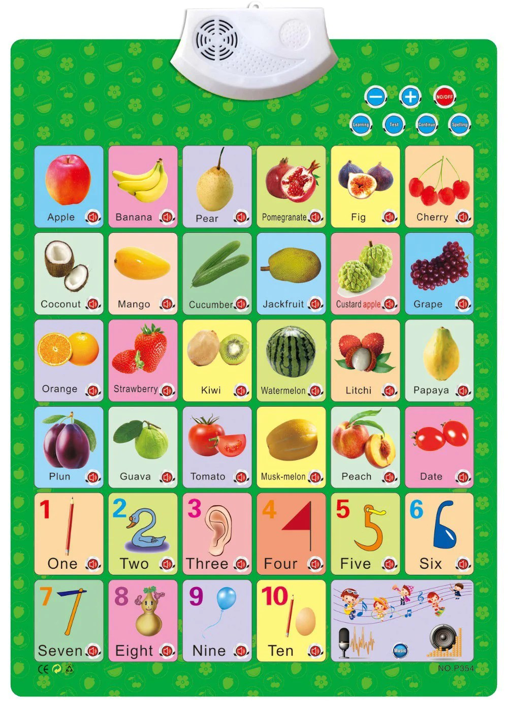 also munchkinz hear and learn fruits number educational wall chart rh