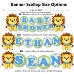 Blue Boy Lion King Baby Shower Decorations 8 4 Inch Scallop Banner Baby Name Or Name Is