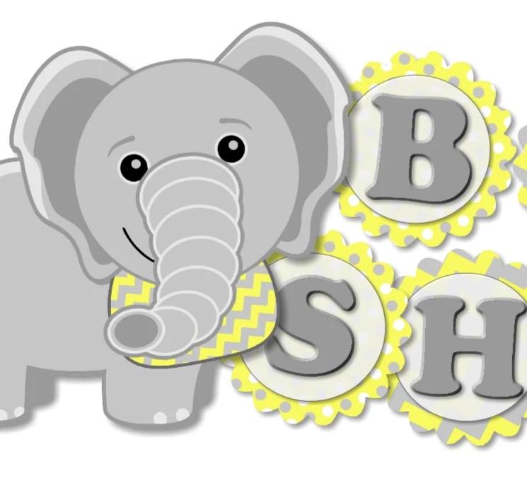 Yellow Gray Elephant Baby Shower