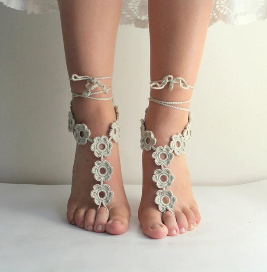 Handmade Knit Floral Barefoot Sandals Crochet