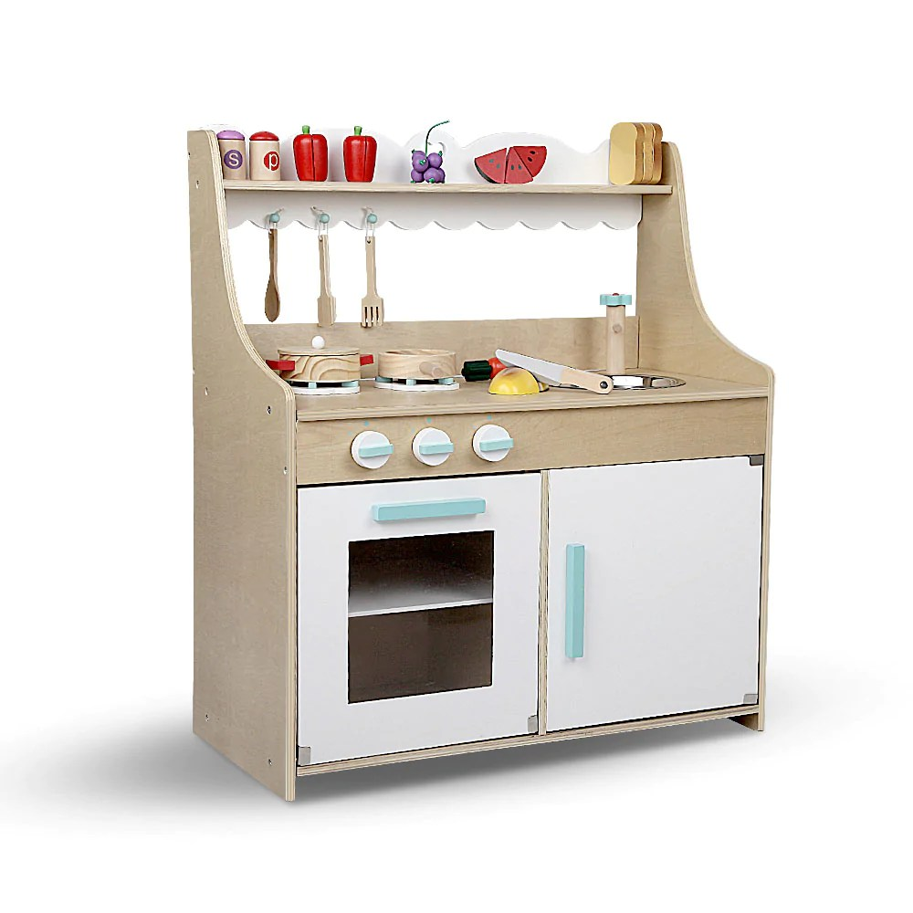 kids wooden kitchen easy design software free download keezi play set natural white shopping joey