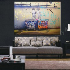 Wall Prints For Living Room Australia Sets Las Vegas Life Is Short Banksy Canvas Painting Pictures Art Decoration Poster
