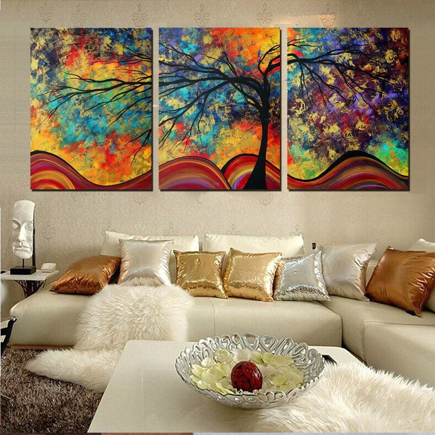 Large Wall Art Home Decor Abstract Tree Painting Colorful Landscape Pa Dollar Bargains