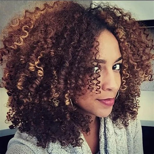 New Wtb Brown Blonde Mixed Synthetic Curly Wigs For Women Short