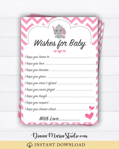 Baby Shower Advice Cards : shower, advice, cards, Elephant, Shower, Wishes, Advice, Cards, Printable, DianaMariaStudio