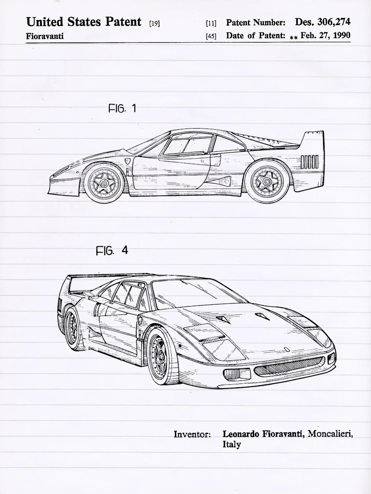 Ferrari Blueprint : ferrari, blueprint, Ferrari, Patent, Poster,, Blueprint,, Canvas,, Automobile, Vintage, Printing
