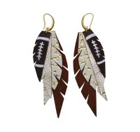 Layered Leather Football Earring - Burnt Orange and White ...