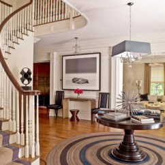 Round Area Rug In Living Room Decorating Ideas For Rooms On A Budget How To Choose The Best Shape Your Space Rugknots Foyer With Winding Staircase Backroung