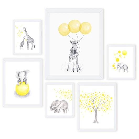 yellow gray animal nursery