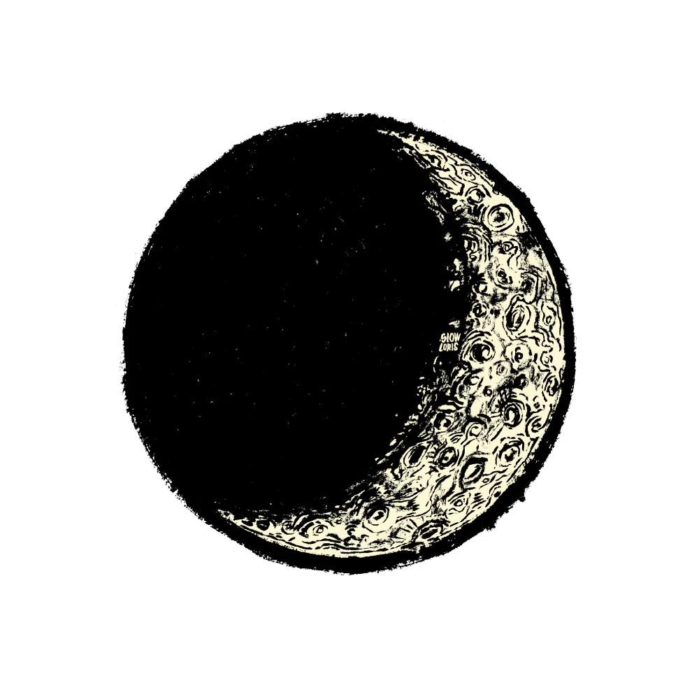 waxing crescent moon print