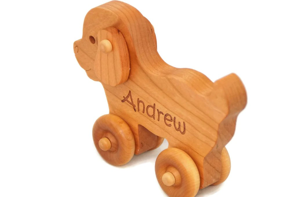 Wooden Toy Car Puppy Dog Personalized Handmade