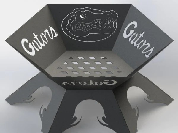 Fire Pit Hexagon Florid Gators Logo Dxf Files Cut Ready