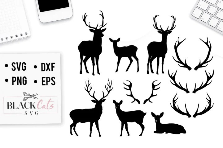 Download Deers set and antlers SVG - BlackCatsSVG