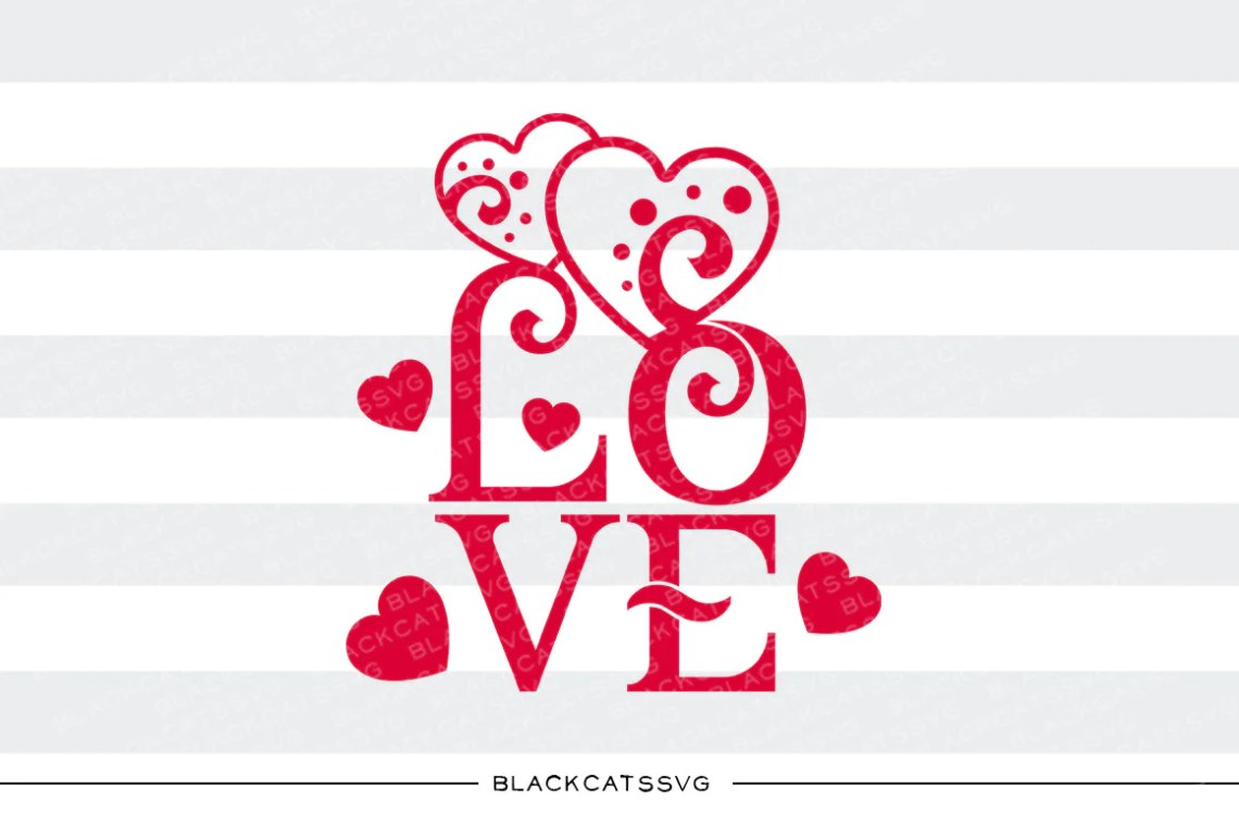 Download Love text hearts SVG file Cutting File Clipart in Svg, Eps ...