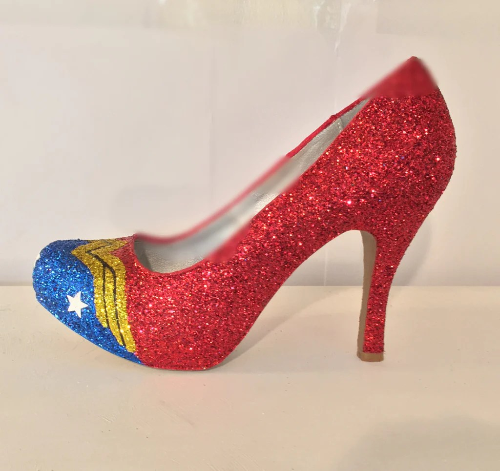 9b09155b9 Superhero Black Red Glitter Harley Quinn Heels Shoes · Woman Super Hero  Glitter Heels Wedding Shoes Ballet