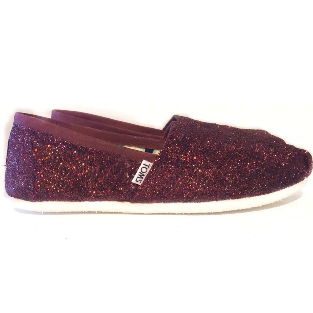 Burgundy Glitter Wedding Shoes