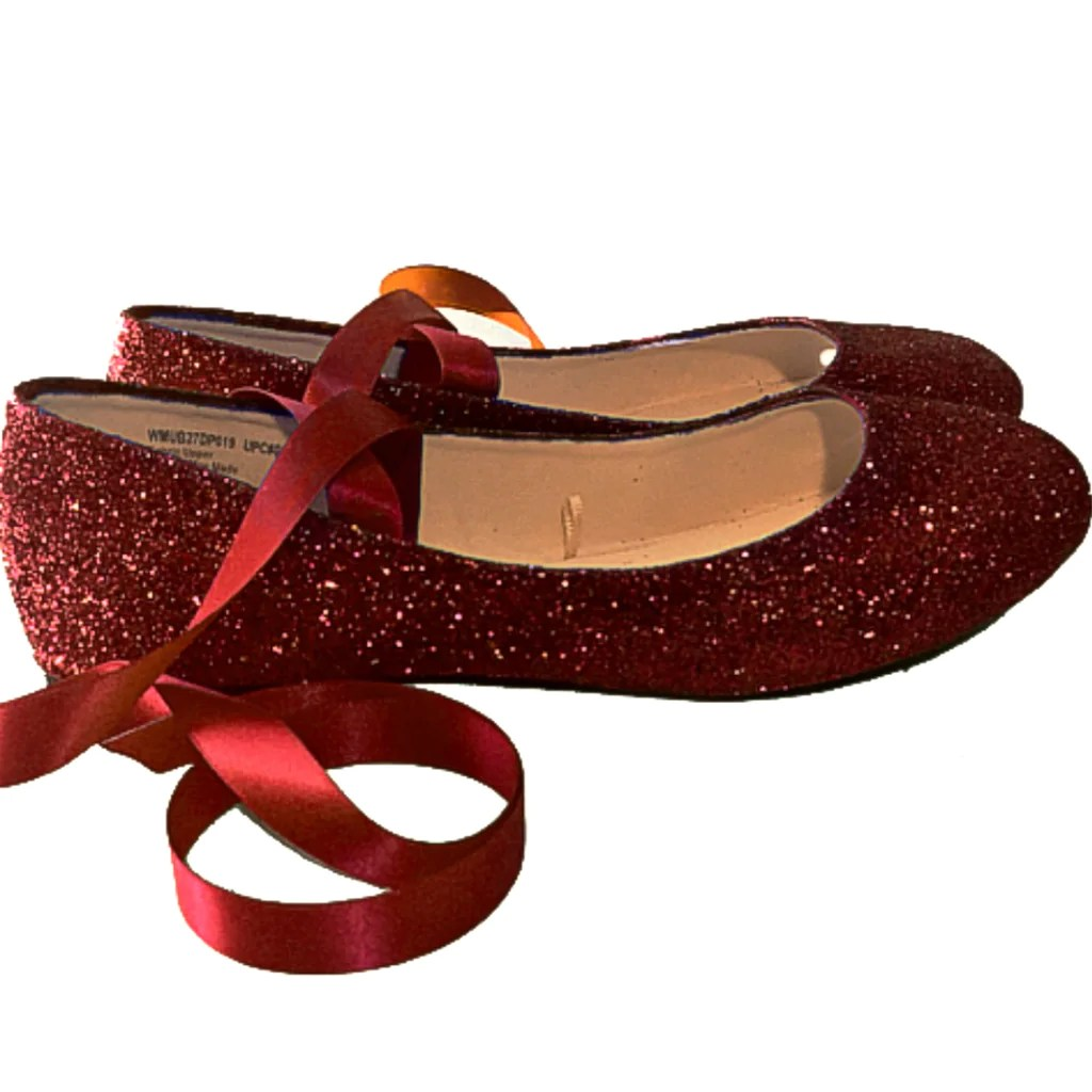 Navy Blue Glitter Flat Shoes