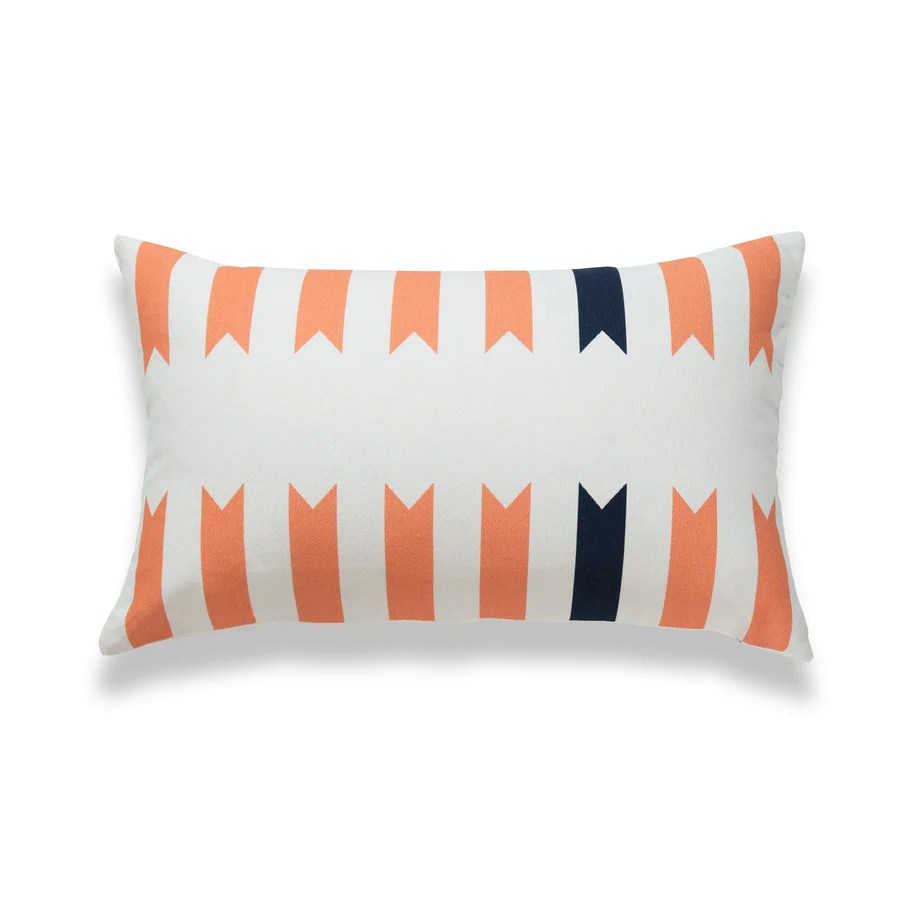 aztec print lumbar pillow cover geometric navy blue coral orange 12 x20