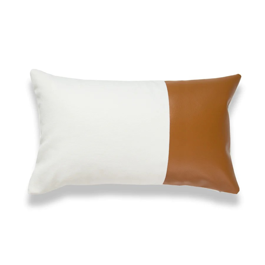 faux leather lumbar pillow cover modern design camel white 12 x20