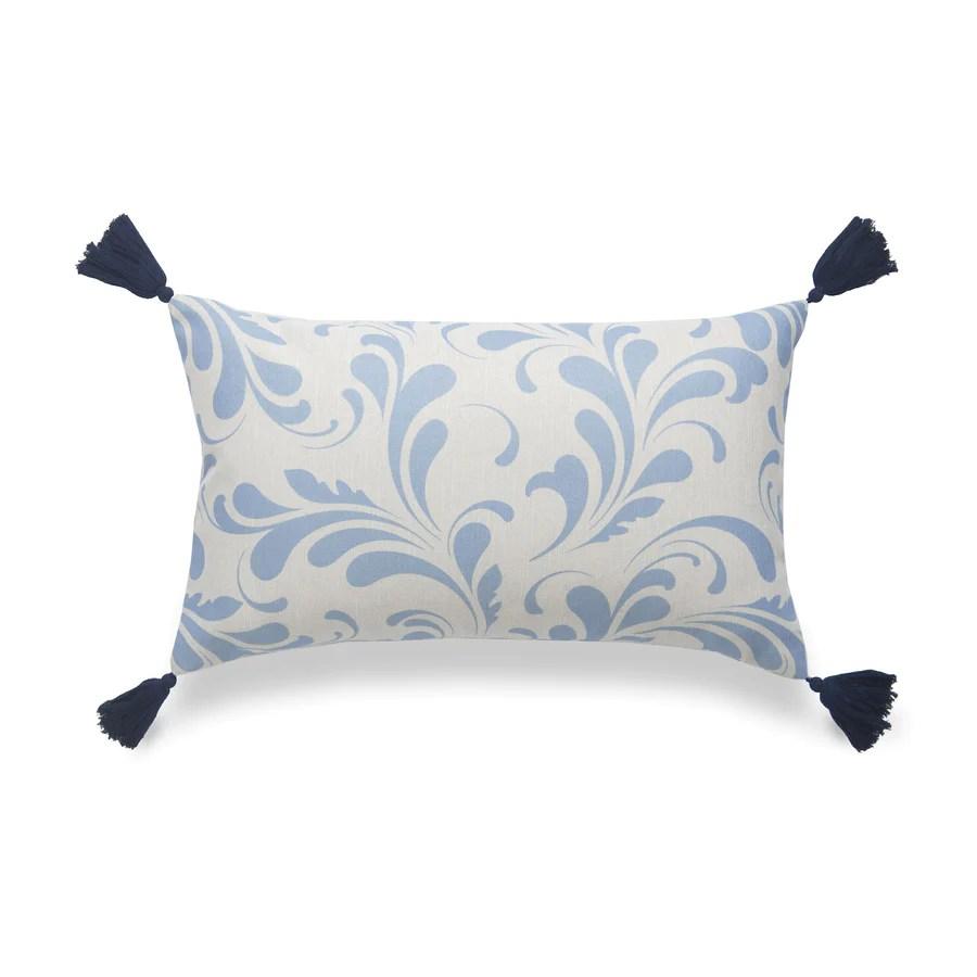 coastal lumbar pillow cover essa floral tassels sky blue 12 x20