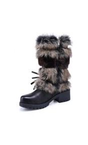 Μπότα με πολύχρωμη γούνα και λειά γούνα σε όλο το εσωτερικό