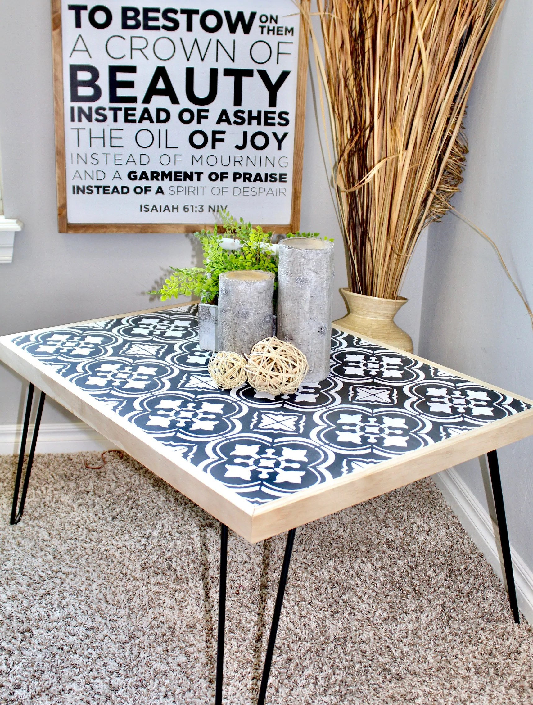 Diy Hairpin Coffee Table With Stenciled Tile Handmade Haven