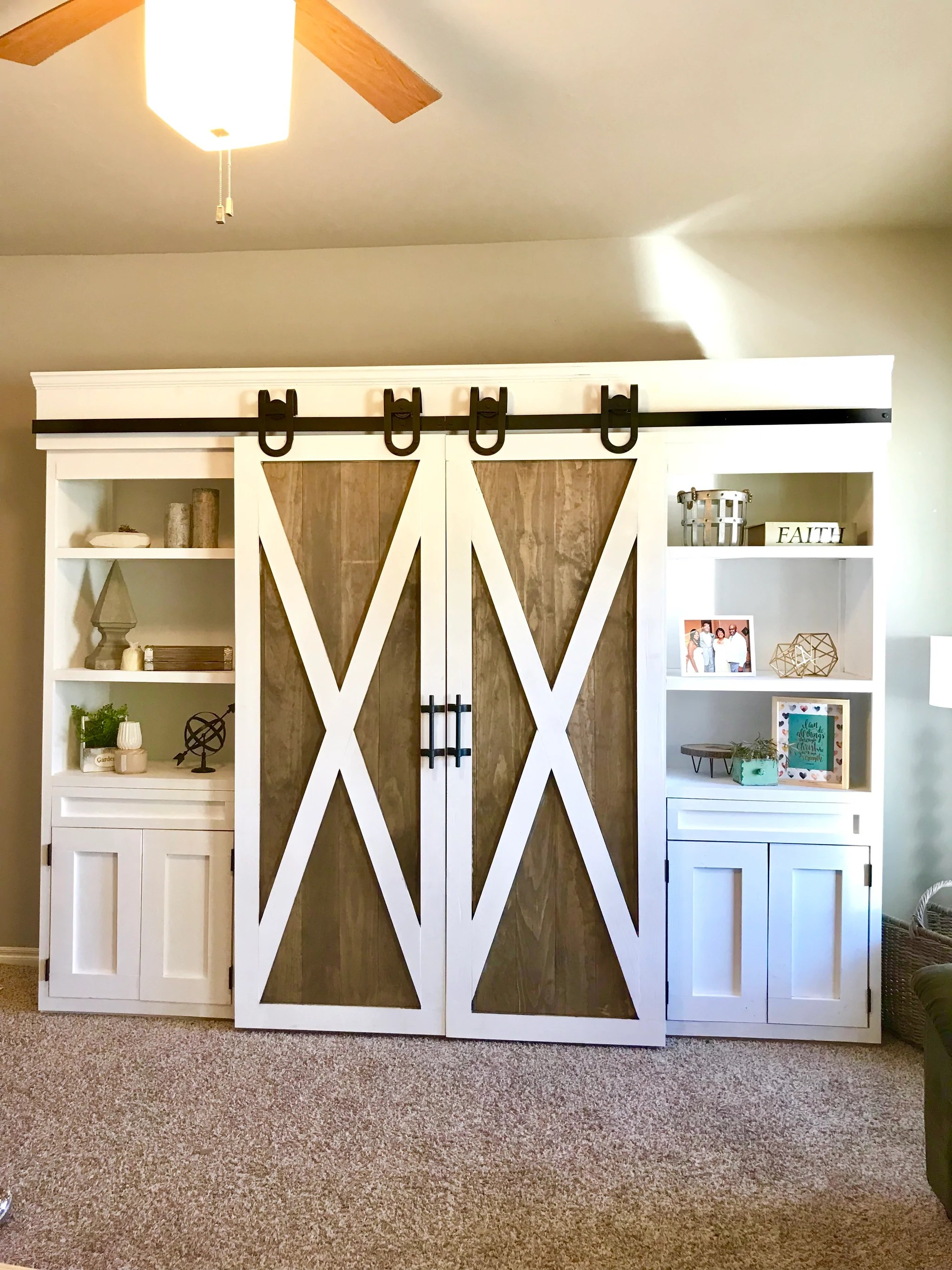media center living room pictures of wall colors sliding barn door handmade haven for the home featuring artisan horseshoe hardware